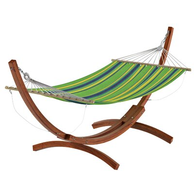 Beachcrest Home Grissom Free-Standing Hammock with Stand Color: Blue/Green/ Yellow