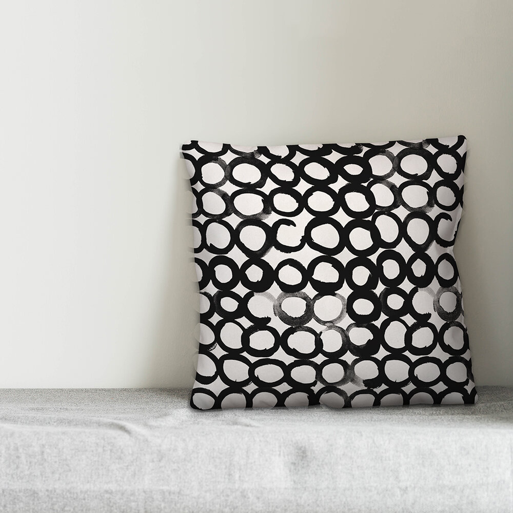 Wrought Studio Celandine Ink Circles Throw Pillow Wayfair