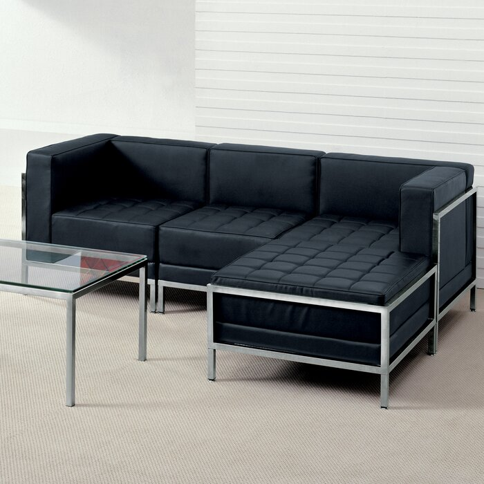 Pyron Right Hand Facing Leather Modular Sectional with Ottoman