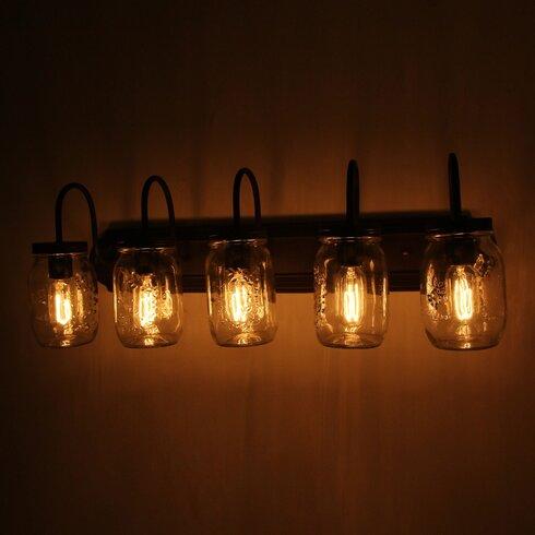 Williston Forge Benefield Mason Jar 5-Light Vanity Light | Wayfair