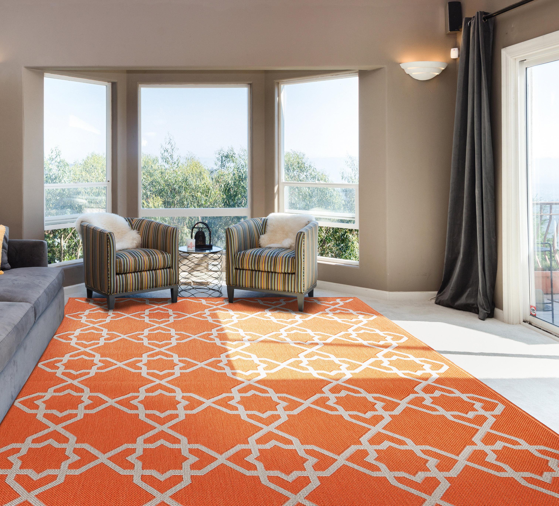 Charlton Home Bautista Trellis Orange Indoor Outdoor Area Rug Reviews Wayfair