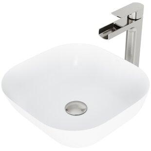 Camellia Stone Specialty Vessel Bathroom Sink with Faucet by VIGO