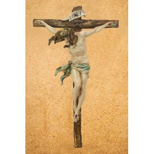 Wall Plaque Large 14.5 Figurine Sculpture Religious Jesus On A Cross INRI Crucifixion Wall Decoration
