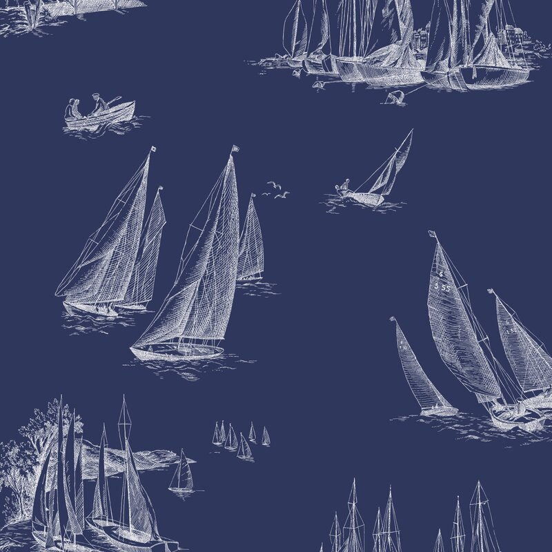 "Gannon Sailboat Toile 27' x 27"" Scenic Wallpaper"
