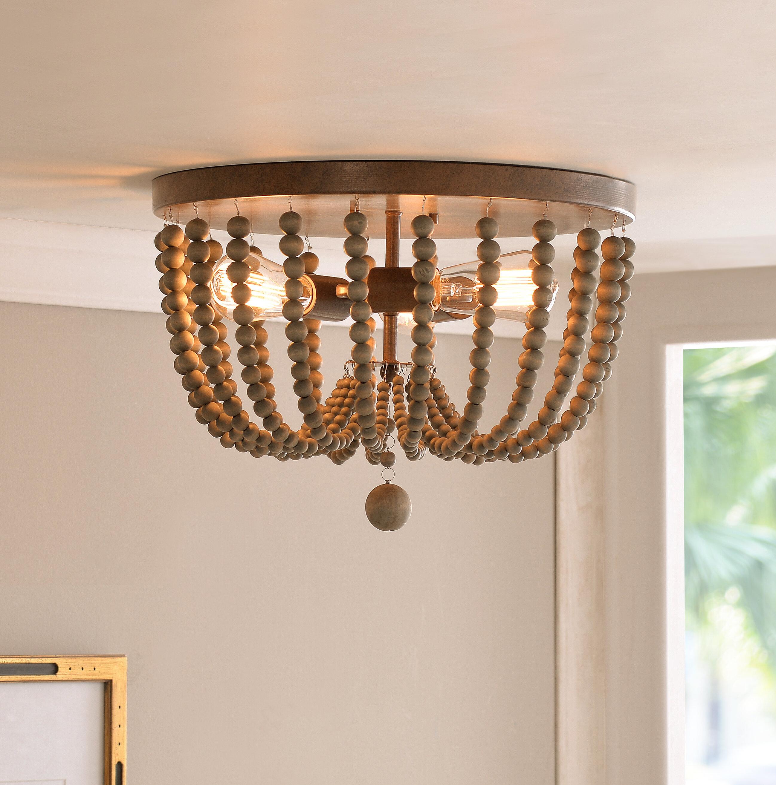 Image of: Beaded Lighting Inside Bay Isle Home Tilden Wood Bead 3light Flush Mount u0026 Reviews Wayfair
