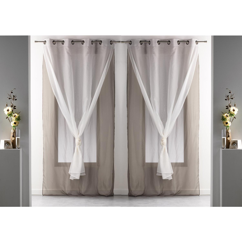 Evideco Robin Double Layered Solid Sheer Grommet Curtain Panels Wayfair