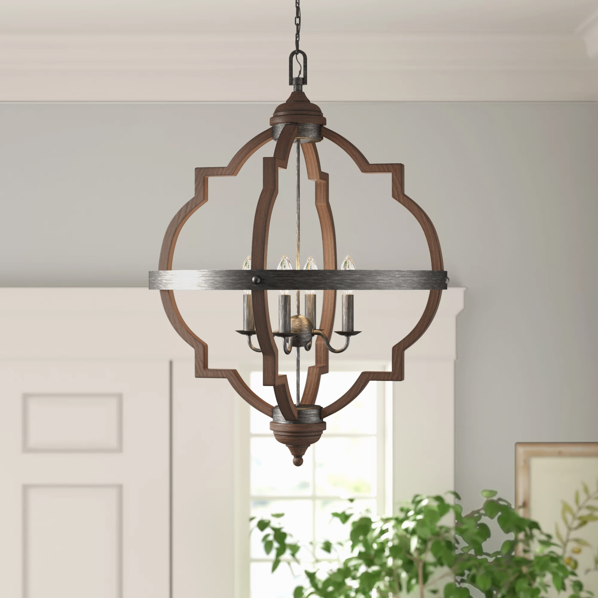 Forney 4 Light Lantern Geometric Chandelier Reviews Birch Lane