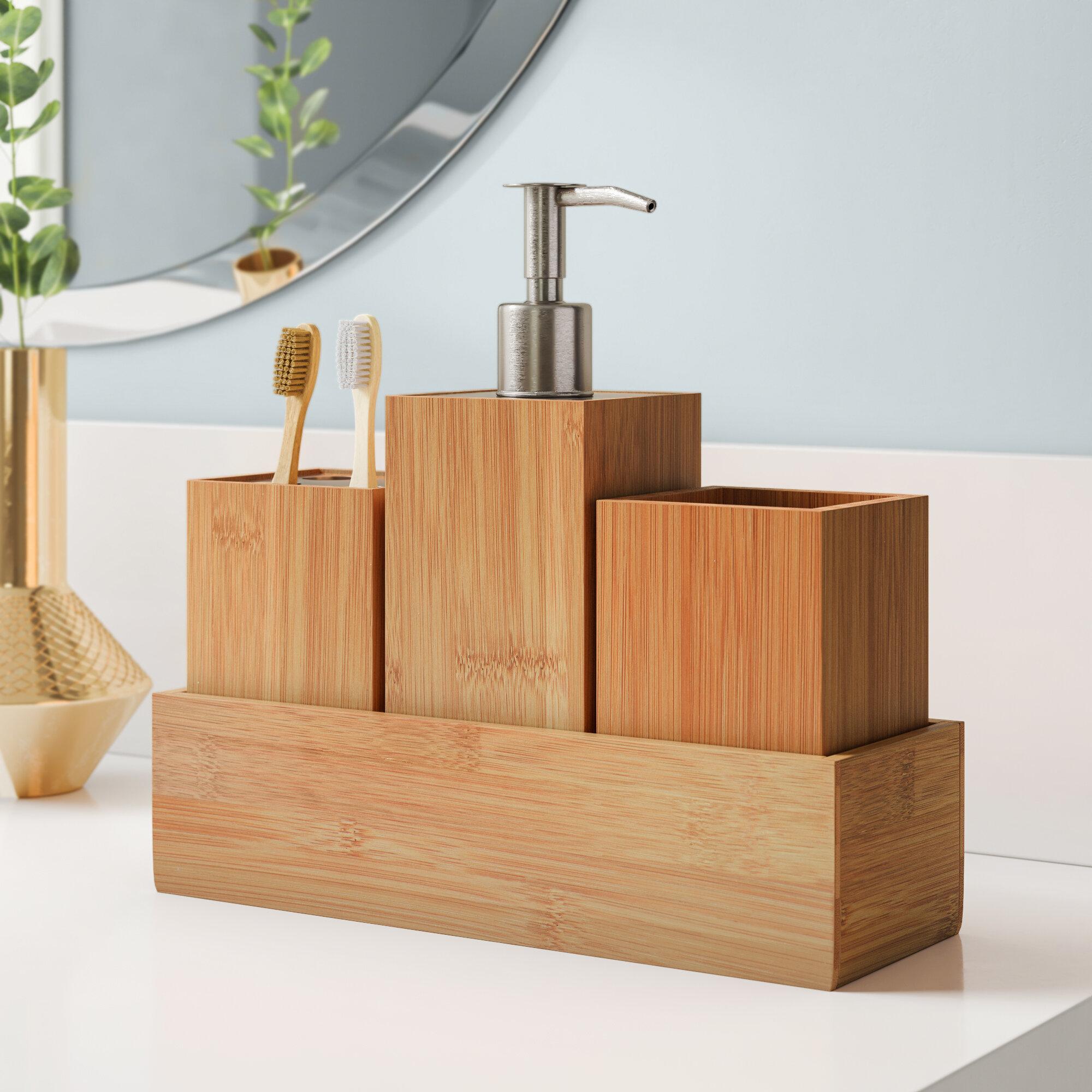 Highland Dunes Mcrae Bamboo 4 Piece Bathroom Accessory Set Reviews Wayfair