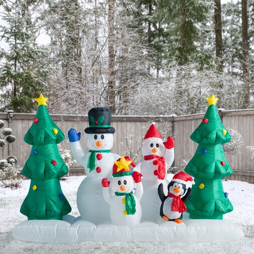 8 ft Inflatable Snowman Family