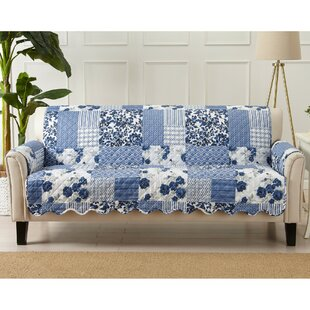Patchwork Scalloped Printed Sofa Box Cushion Slipcover