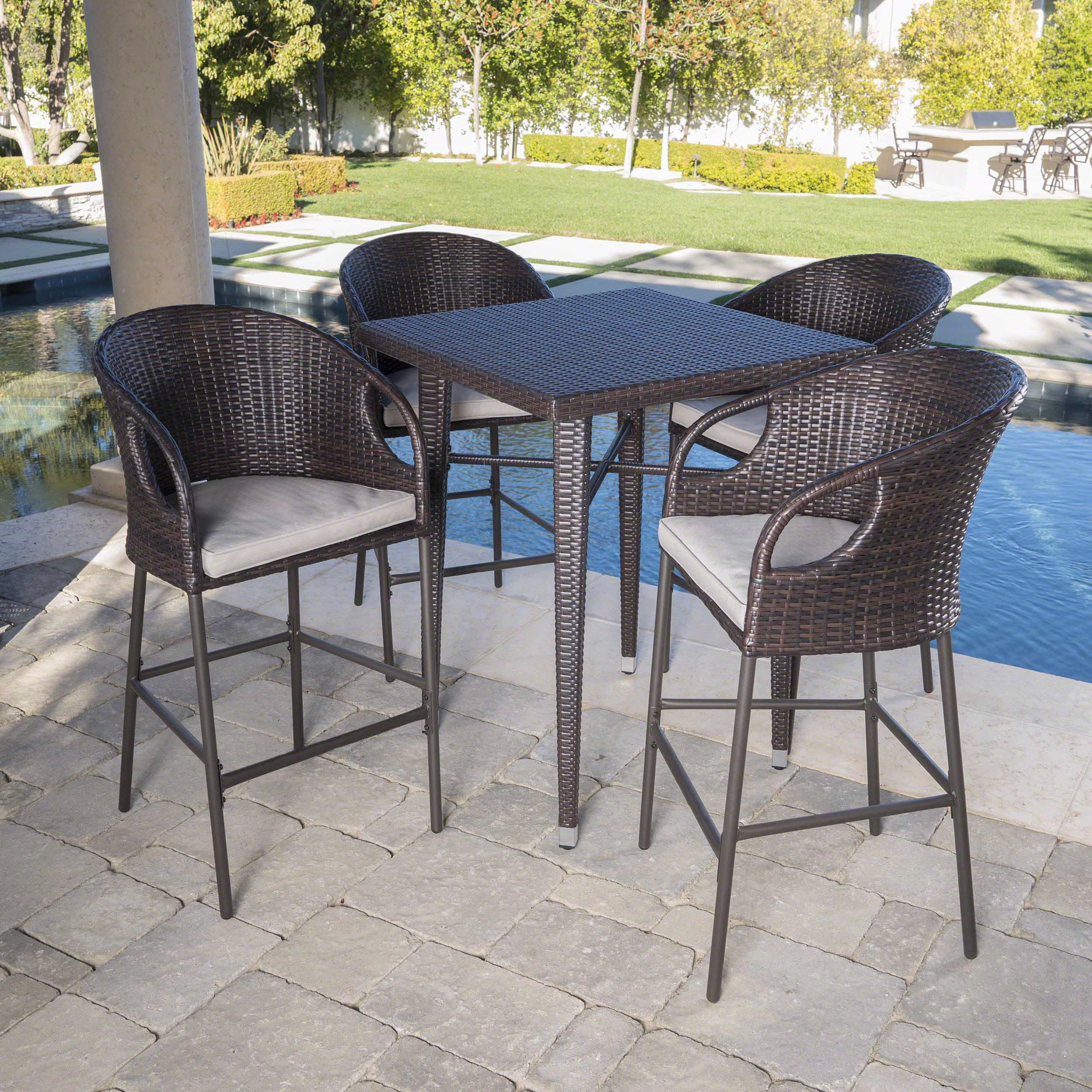 Ching Outdoor 5 Piece Bar Height Dining Set With Cushions