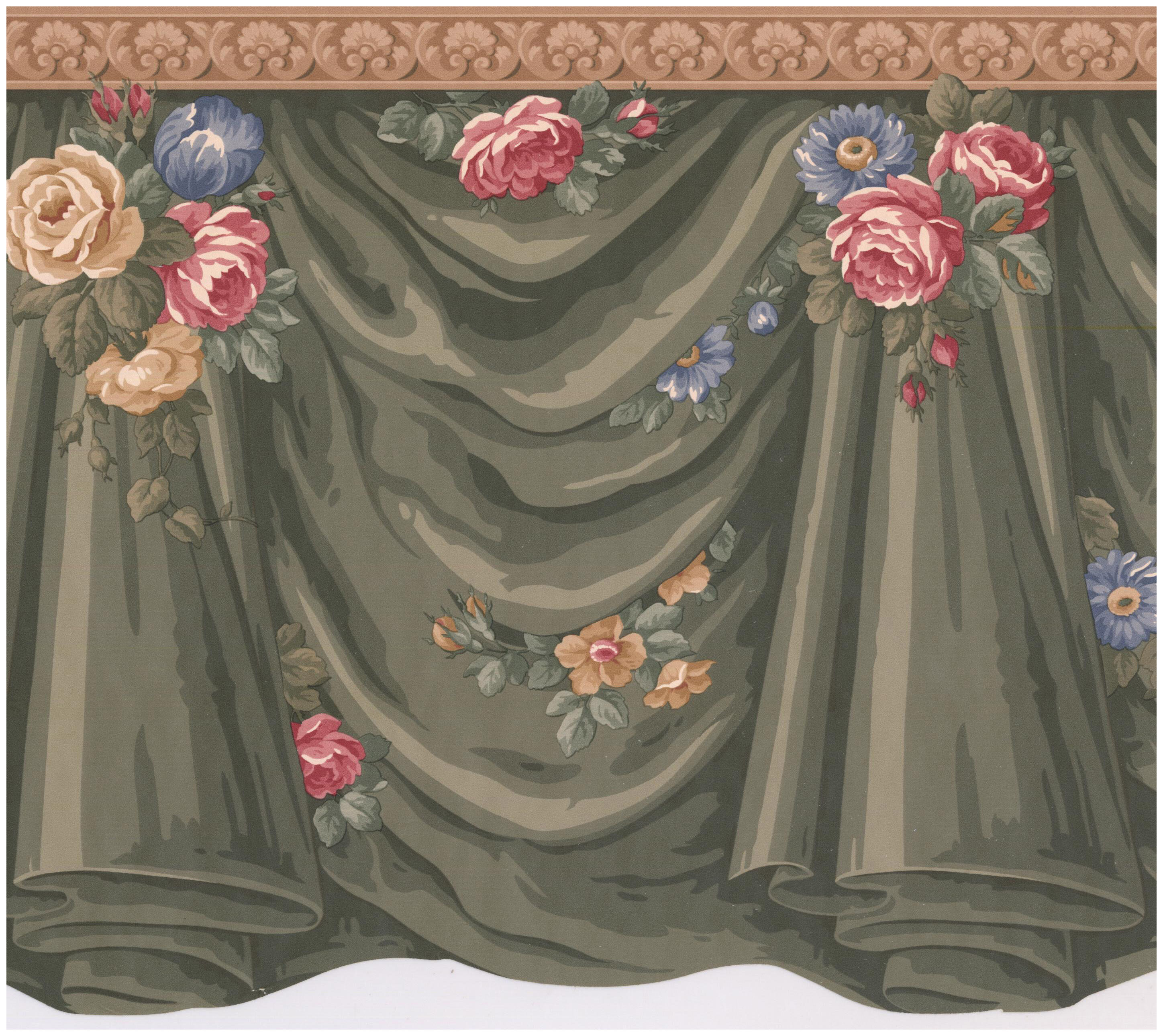 Astoria Grand Tiarra Curtains Roses Flowers Scalloped 15 L X 12