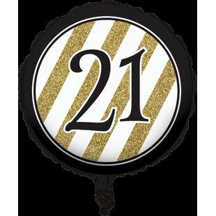 Black and Gold 21st Birthday Mylar Balloon