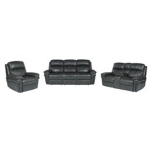 Red Barrel Studio Dipasquale Reclining Luxe Leather 3 Piece Reclining Living Room Set