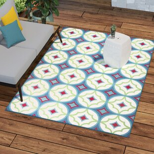 Order Bowman Blue/White Indoor/Outdoor Area Rug ByWrought Studio