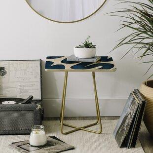 Elena Blanco Swirls End Table by East Urban Home