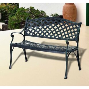 Brazil Decorative Grid Pattern Cast Aluminum Garden Bench by Fleur De Lis Living Cheap