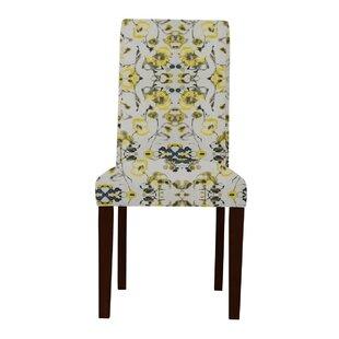 Latitude Run Beachwood Yellow Flowers Parsons Chair (Set of 2)