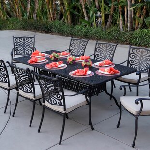 Astoria Grand Archway 9 Piece Metal Dining Set with Cushions