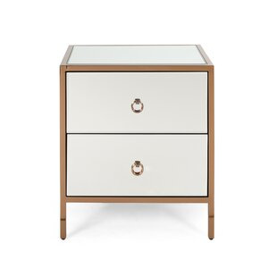 Matte Glam Mirrored 2 Drawer Accent Chest