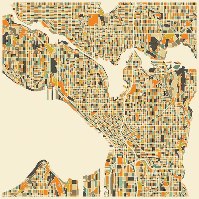 East Urban Home Abstract City Map Of Seattle Graphic Art On
