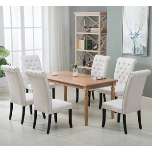Padro Tufted Cotton Upholstered Parsons Chair in White Set of 6