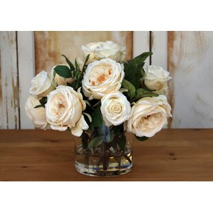 Rose Floral Arrangement in Glass Cylinder Vase