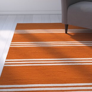Dreadnought Hand-Hooked Tangerine Indoor/Outdoor Area Rug