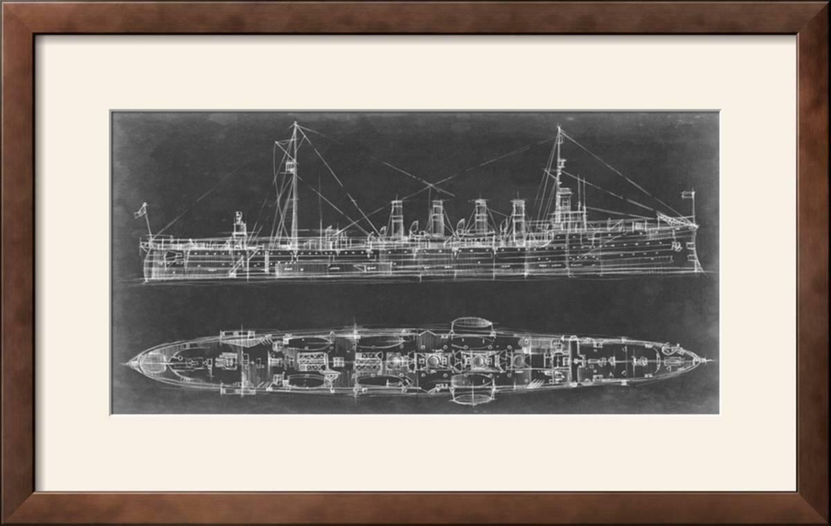 Williston forge navy cruiser blueprint framed graphic art print navy cruiser blueprint framed graphic art print malvernweather Image collections