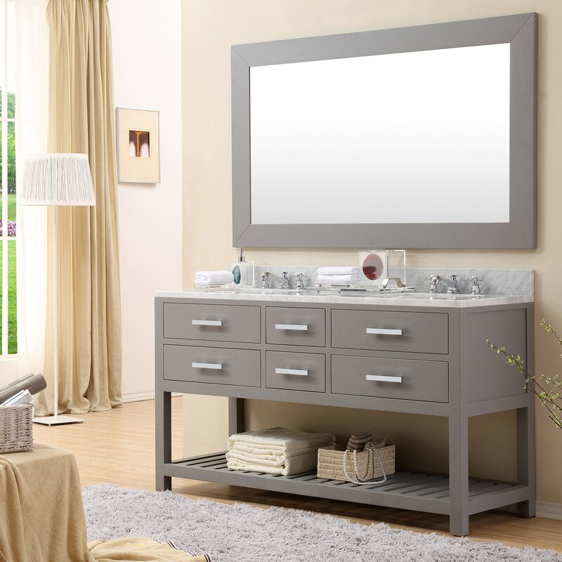 Default nameDarby Home Co Fran 60  Double Sink Bathroom Vanity Set   Reviews  . Bathroom Vanity 60 Double Sink. Home Design Ideas