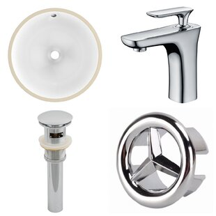 American Imaginations Ceramic Circular Undermount Bathroom Sink with Faucet and Overflow