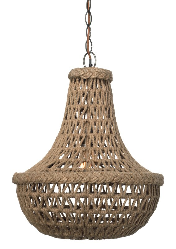 Jute Macrame 1-Light Bowl Pendant