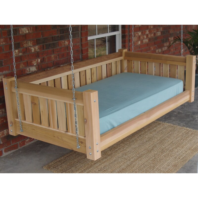 Teague Cedar Victorian Style Hanging Daybed Swing