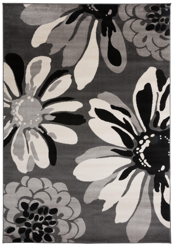 a71fdcf8f74 Winston Porter Lorraine Contemporary Flowers Gray Area Rug