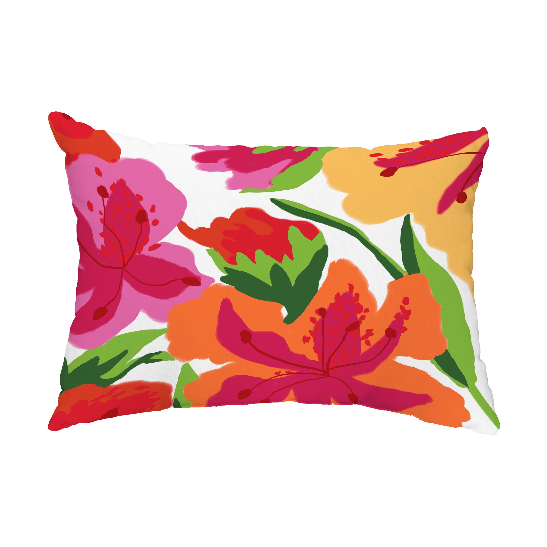 Bay Isle Home Dunnes Tropical Floral Indoor Outdoor Lumbar Pillow Wayfair