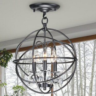Willa Arlo Interiors Dalveen Antique Metal Globe Crystal 3-Light Semi Flush Mount