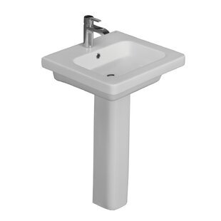Inexpensive Resort Vitreous China Pedestal Bathroom Sink with Overflow By Barclay