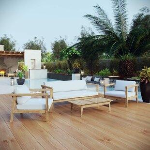 Edmeston 4 Piece Teak Sofa Set with Cushions ByBayou Breeze