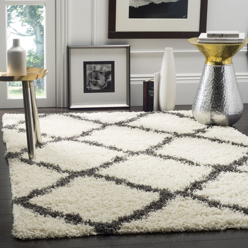 Willa Arlo Interiors Charmain Ivory Dark Grey Area Rug
