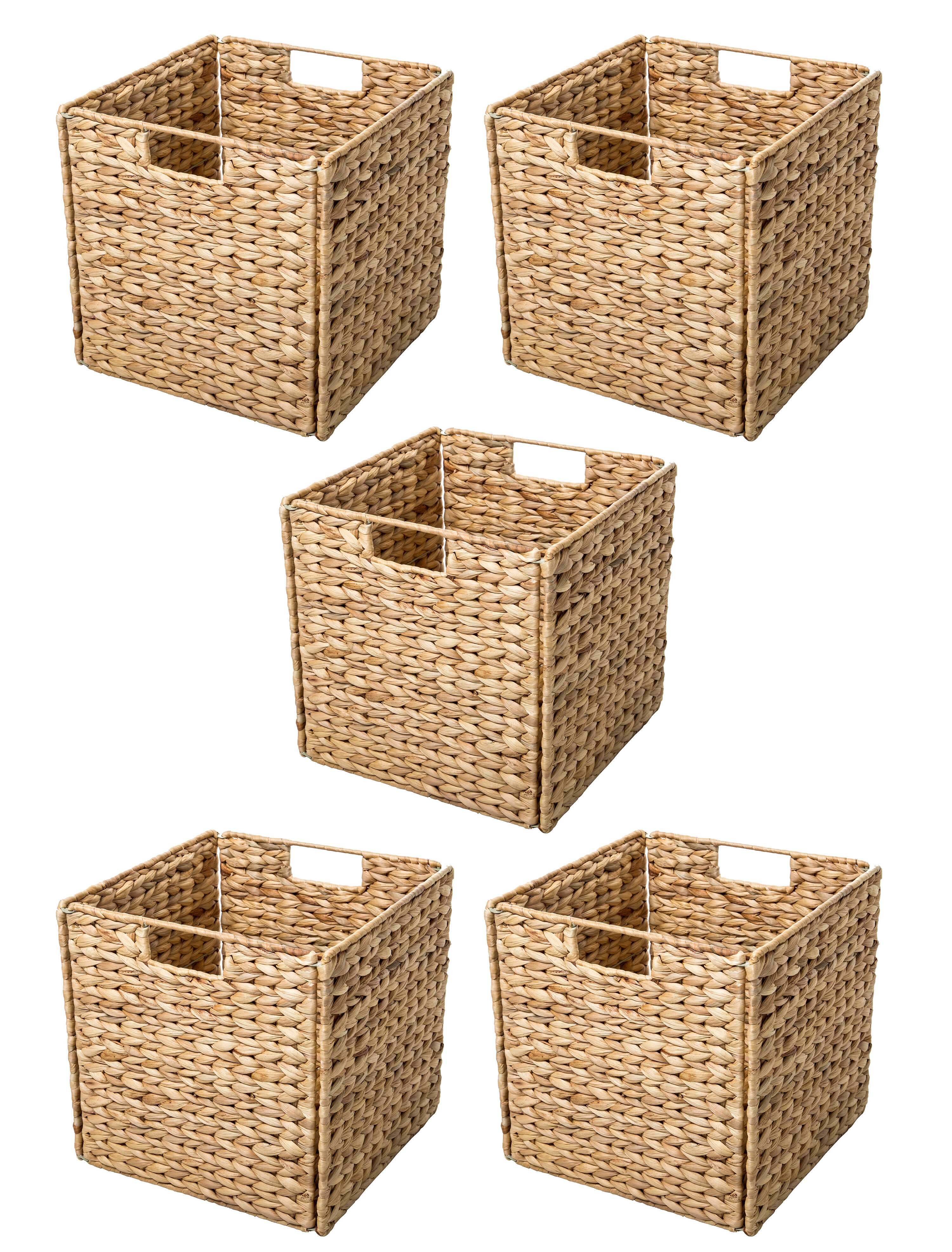 Trademark Innovations Hyacinth Foldable Storage Wicker Basket With Iron Wire Frame Reviews Wayfair