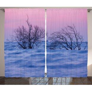 Digna Driftwood Graphic Print and Text Semi-Sheer Rod Pocket Curtain Panels (Set of 2) by Latitude Run