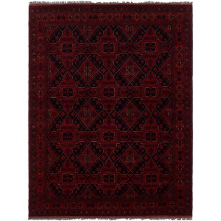 Best Choices One-of-a-Kind Abel Hand-Knotted Wool Red/Black Area Rug By Isabelline