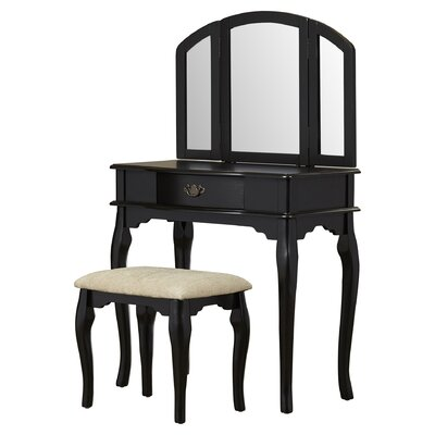 Otega Vanity Set with Mirror Color: Black by Alcott Hill