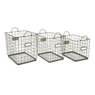 Utility Wire Storage Metal 3 Piece Basket Set by Gracie Oaks