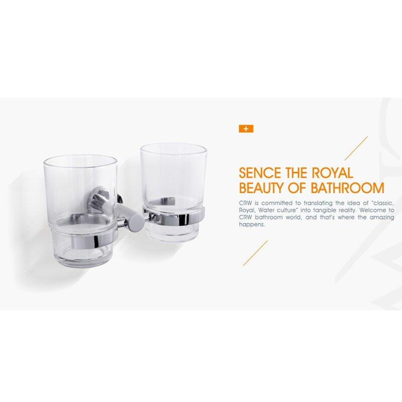 New ROYAL Bathroom Accessory Brass Chrome Glass Single Tumbler Toothbrush Holder