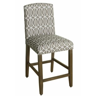 Natascha Fabric Upholstered Wooden Bar Stool by Charlton Home