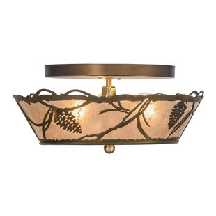 Meyda Tiffany Whispering Pines 3-Light Semi Flush Mount
