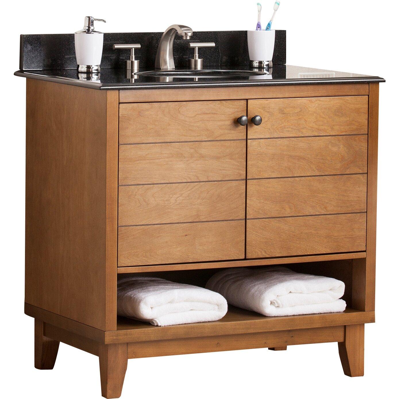 Wildon home reading 34 single bath vanity sink with granite top reviews wayfair for Bathroom vanities with tops single sink