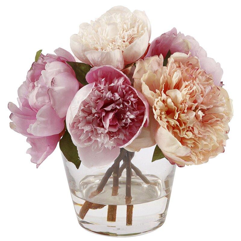 Jane Seymour Botanicals Peonies Floral Arrangement In Glass Vase