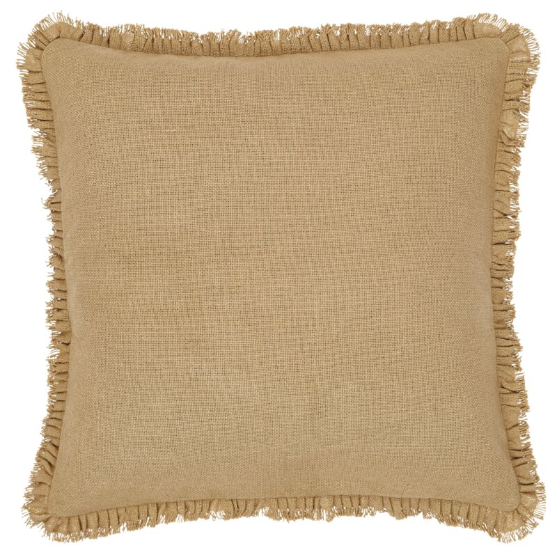 Andrade Fringed Burlap Throw Pillow